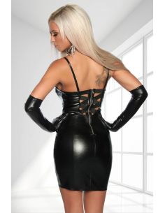 Robe imitatioon cuir 18150 Noir