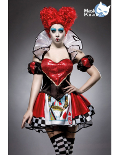 Red Queen Costume 80035 Noir/Rouge/Blanc Mask Paradise - 1