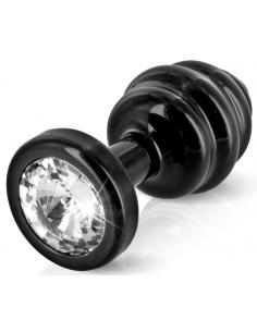 Ano Butt Plug strié noir 30 mm