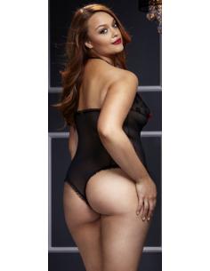 Body Lace noir avec noeud Rouge