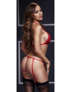 Ensemble sexy avec string ouvert rouge