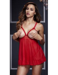 Babydoll Sheer avec poitrine ouverte rouge