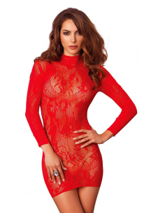 Robe lingerie manches longues rouge 86601