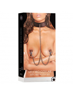 OUCH! VELCRO COLLAR WITH NIPPLE CLAMPS BLACK