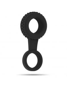 Nº47 COCK AND TESTICLE RING BLACK