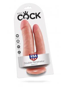 Double gode ventouse réaliste King Cock