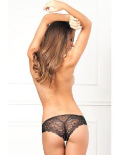 Panty ouvert Dots et dentelle Noir REN1075-BLK