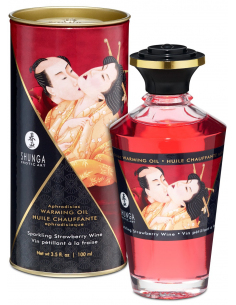 Huile chauffante aphrodisiaque vin pétillant fraise 100ml