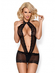 830-CHE-1 chemise & thong black