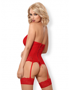 838-COR-3 corset & thong red