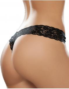 String brésilien noir en dentelle 3741