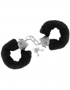 Menottes fourrure noires de poignets avec sécurité 6672