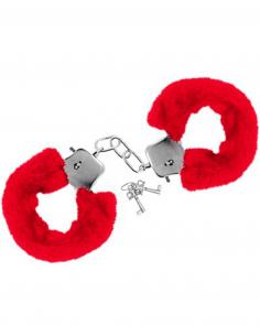 Menottes fourrure rouges de poignets avec sécurité 6675