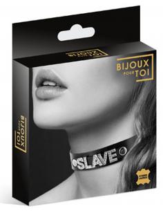 Collier en cuir noir SM avec Slave en strass 7170