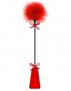 Cravache rouge bdsm avec plumeau 6826