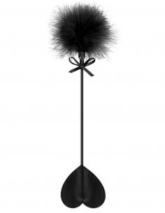 Cravache noire coeur bdsm avec plumeau noir