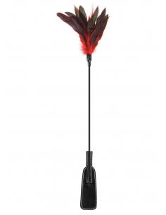 Cravache noire bdsm avec plumes noires rouges 6829