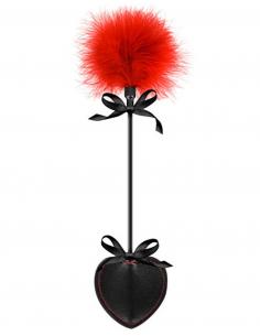 Cravache coeur noire bdsm avec plumeau rouge 6831
