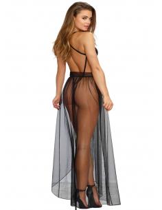 Body string noir échancré dentelle avec jupe de maille transparente amovible