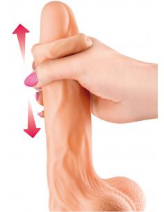 Gode réaliste veiné ventouse va-et-vient prépuce testicules billes mouvantes 22cm