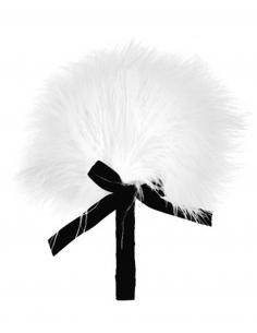 Plumeau blanc avec noeud satiné 6432