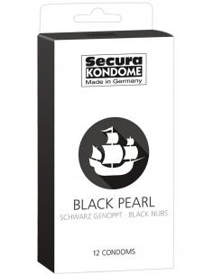 Préservatifs lubrifiés noirs avec réservoir Boîte de 12