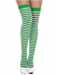 Bas sexy autofixants opaques verts rayés de blanc