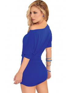 Robe bleue clubwear asymétrique