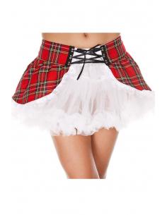 Jupon blanc sexy avec côtés Ecossais rouge et laçage 7549