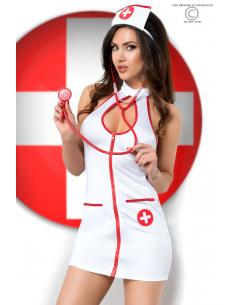 Costume infirmière avec fermeture zip et stéthoscope
