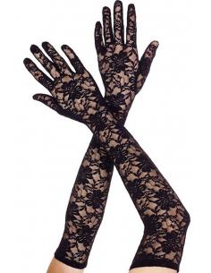 Gants longs en dentelle florale noire