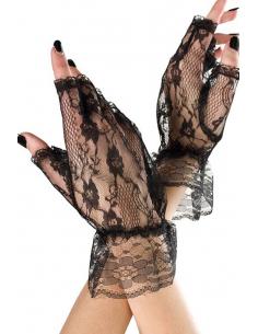 Gants ouverts noirs dentelle résille et volants sur les poignets 4268
