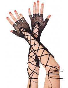 Gants ouverts noirs en résille avec laçage sur l'avant bras 4269