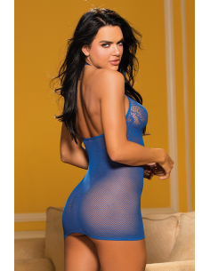 Nuisette courte blue fine résille et motifs poitrine