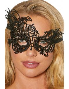 Masque noir asymétrique brodé dentelle de Venise
