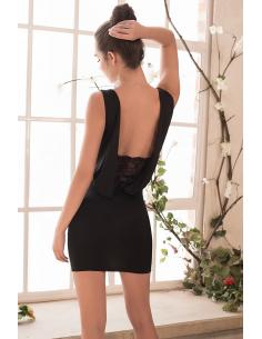Robe cocktail noire dos drapé et dentelle