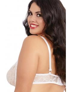 Soutien-gorge blanc grande taille demi-bonnets seins nus avec armatures