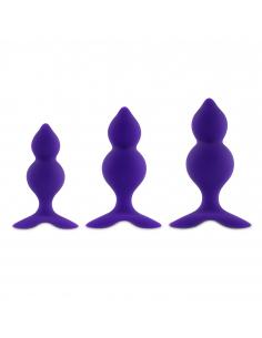 Bibi Twin Butt Plug Set 3 pcs Purple