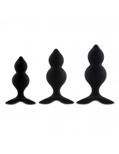 Bibi Twin Butt Plug Set 3 pcs Black