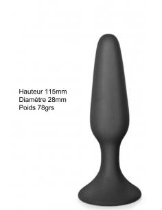 Plug anal noir 11.5cm avec ventouse