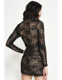 Robe courte sexy noire avec zip avant