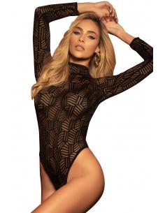 Body string noir géométrique dos ouvert