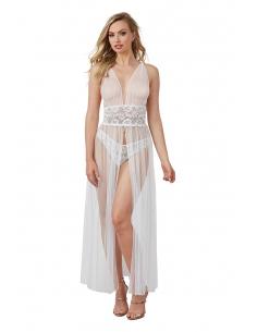 Robe nuisette transparente blanche en dentelle et fine résille