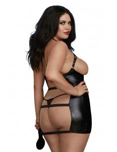 Nuisette BDSM grande taille en simili cuir et dos nu avec accessoires