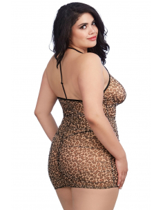 Nuisette grande taille imprimée léopard