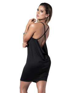 Robe noire drapée au dos - MAL4535BLK