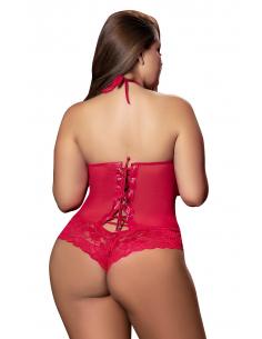 Body grande taille dentelle et maille rouge avec laçage dos - MAL8195XRED