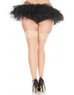 Bas noirs autofixants nylon voile couture et jarretières dentelle - MH4150XNUD