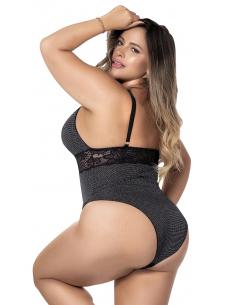 Body grande taille noir avec dentelle scintillante - MAL8498XBLK