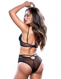 Body sexy en dentelle et fine résille noire - MAL8546BLK